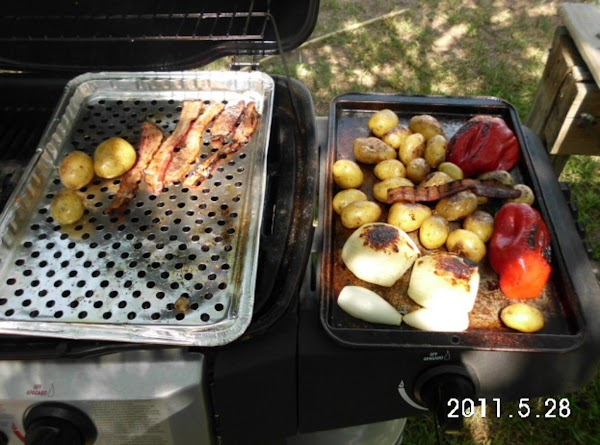 Once veggies & bacon have cooled, put any larger potatoes in half, you want...