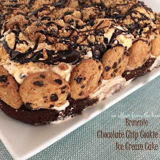 Brownie Chocolate Chip Cookie Dough Ice Cream Cake.
