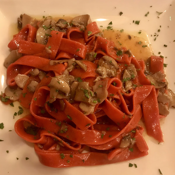 The menu wasn't updated but I went ahead with the mushroom pasta but it's now with a tomato noddle. Pasta was good but overall dish was Ok.