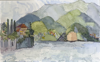 Photo: View from Varenna to Bellagio at Lake Como, Italy 9/21/2013 Watercolor