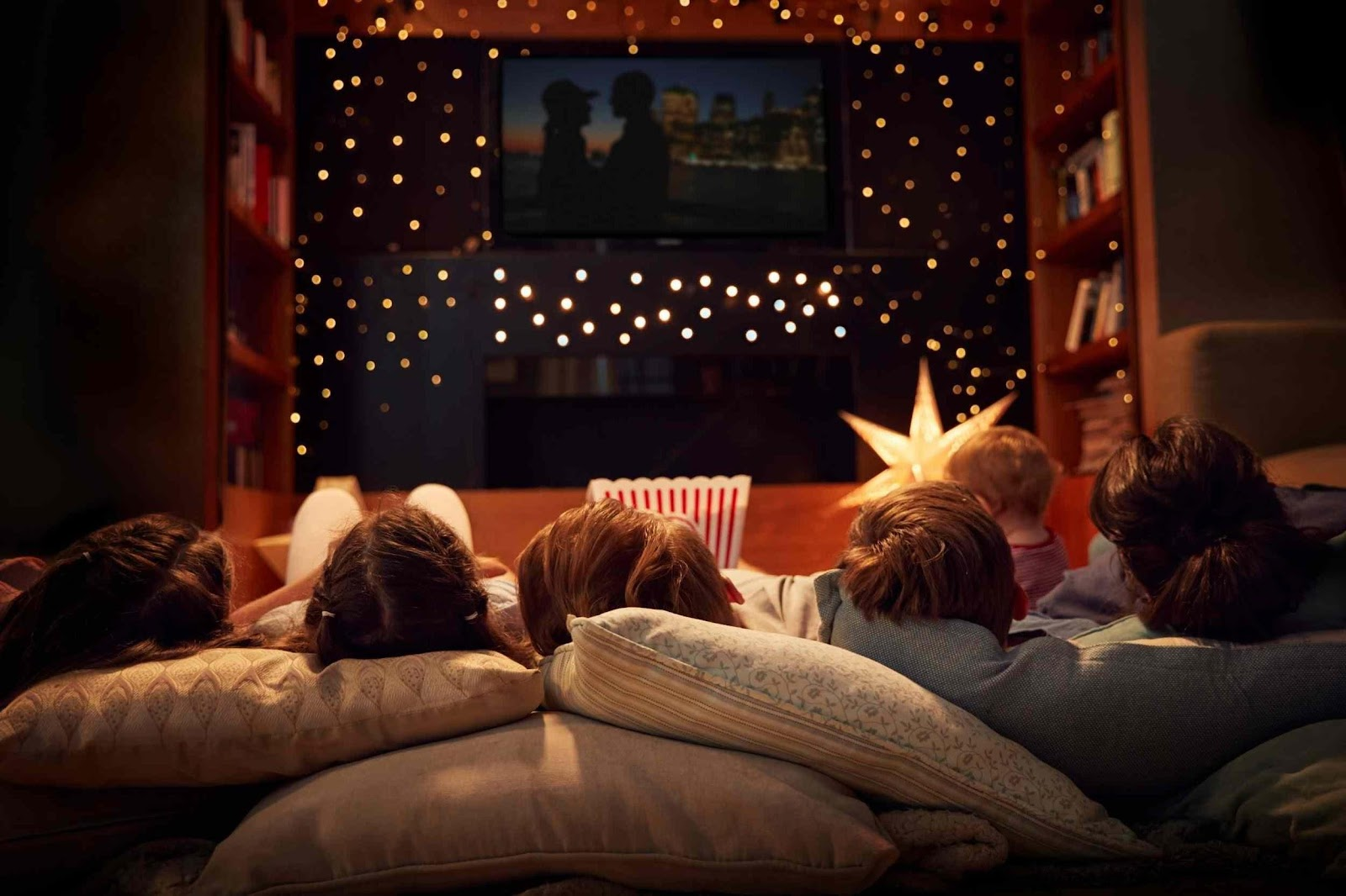 Movie night sleepover for kids with friends.