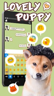 Keyboard - Lovely Puppy cute Free Emoji Theme - náhled