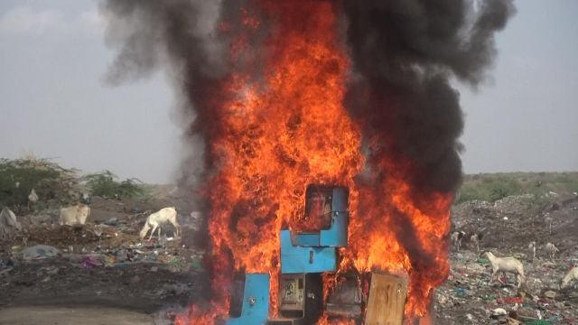 Fire guts gambling machines impounded in December last year and January in Garissa.