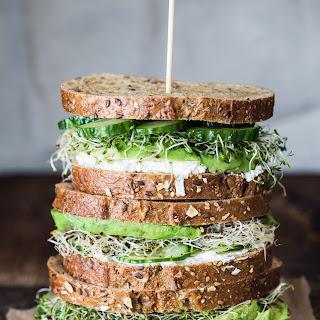 Avocado, Cucumber, Goat Cheese Sandwich.