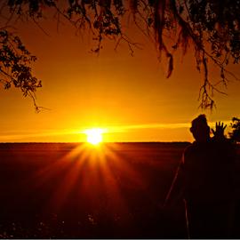 Hello....Sun... by Ivy Luna - Landscapes Sunsets & Sunrises ( #waving, #sunset, #sun, #silhouette, #female silhouette,  )