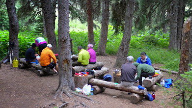 Photo: Common food prep area on night #4 at the upper end of Elizabeth Lake. These folks (from FL, CA, IL, WI, AZ) were with a guide.