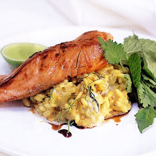 Pan-fried Salmon With Thai Green Risotto.