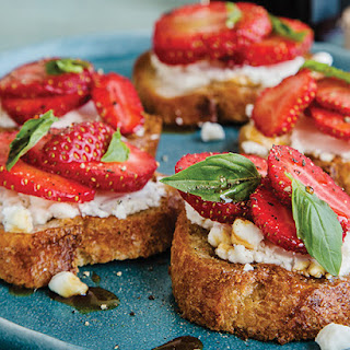 Strawberry Bruschetta with Goat Cheese & Pine Syrup