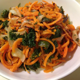 Sweet Potato Noodles with Kale, Swiss Chard, Roasted Onions & Garlic