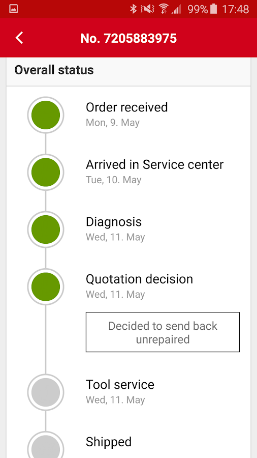 Hilti Order Status- screenshot