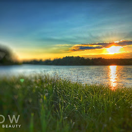 Sunset by the lake by Andy Dohare - Typography Captioned Photos ( water, sunset, lake, sun )