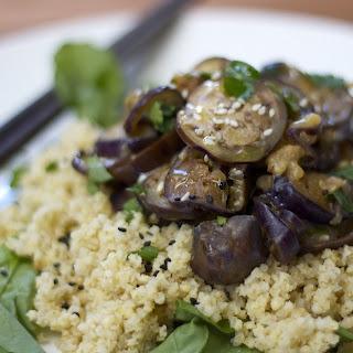 Miso Sesame Eggplant With Coconut Millet [Vegan].