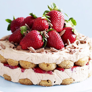 Chocolate Marsala Cake with Strawberries and Mascarpone.