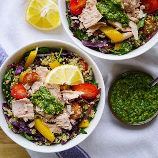 Protein Packed Tuna + Pesto Quinoa Salad