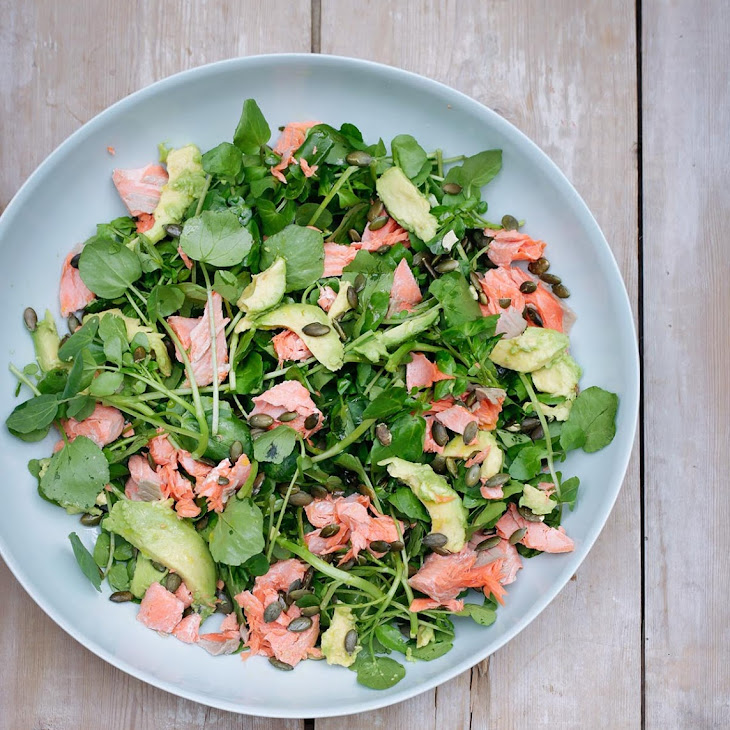 Salmon, Avocado, Watercress and Pumpkin Seed Salad Recipe | Yummly