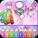 Glitter Fashion Artwork Girls Beauty Coloring Book icon