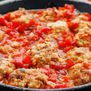 Chicken Meatballs With Tomato Bell Pepper Sauce