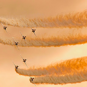 Red Arrows in the evening sun by Steve Bampton - Transportation Airplanes ( red arrows, aircraft, formation flying, jets,  )