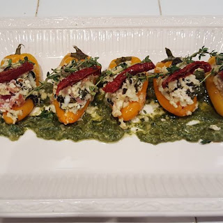 Stuffed Mini Peppers W/ Basil Pesto