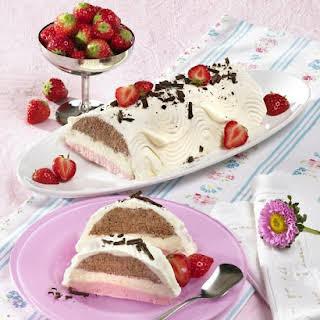 Chocolate and Strawberry Ice Cream Cake.