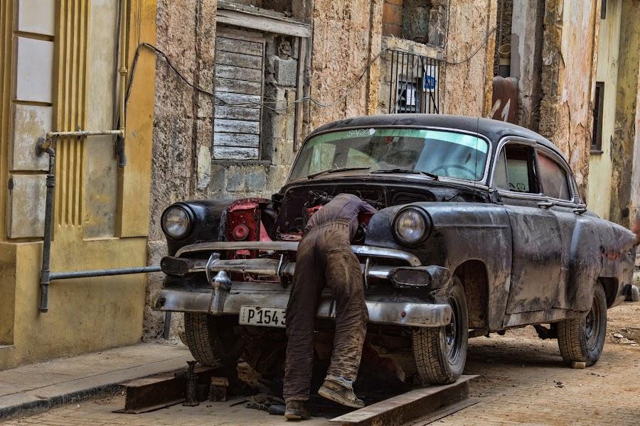 Cuban Mechanic by Bill Dickson - Transportation Automobiles ( mechanical x auto x repair, 1950, cuba )