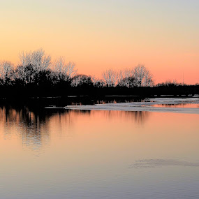 Tranquil Transition by Kathy Woods Booth - Landscapes Sunsets & Sunrises ( dusk )