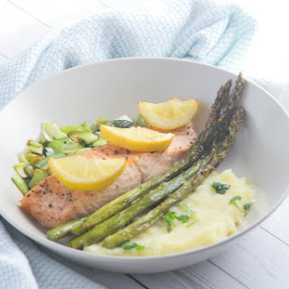 SALMON WITH PARSNIP MASH AND SAUTEED LEEKS