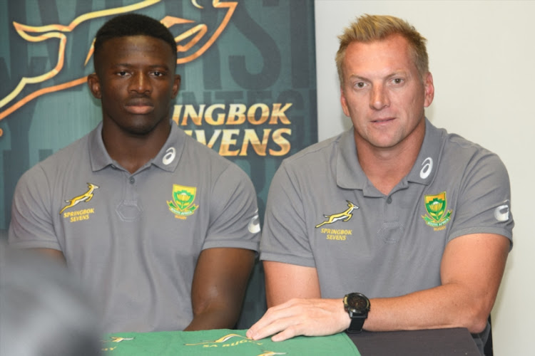 Sako Makata (captain) and Marius Schoeman during the Springbok Sevens team announcement at Stellenbosch Academy of Sport on November 23, 2018 in Stellenbosch, South Africa.