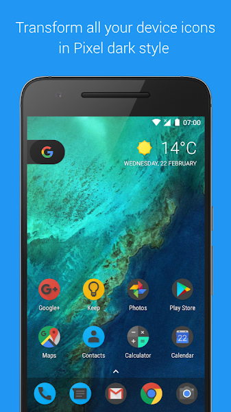 Pixel Dark Icon Pack – Nova/Go v1.5