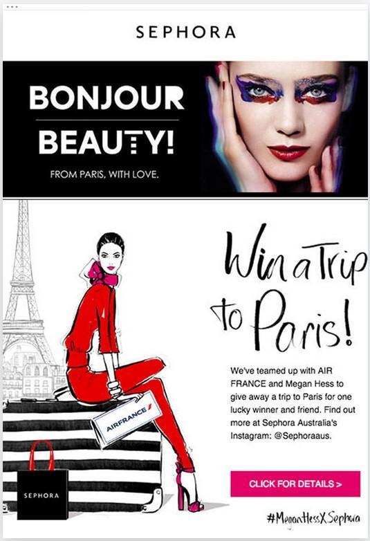 With an offer to win a trip to Paris, Sephora's email showcases how an offer of a giveaway, free trip, or other promotion can sway users to open the email and take action.