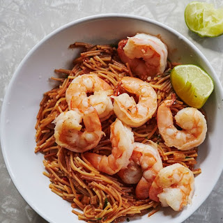Spicy Pasta with Shrimp and Tomatoes.
