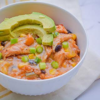Healthy Crock-Pot Chicken Enchilada Casserole.