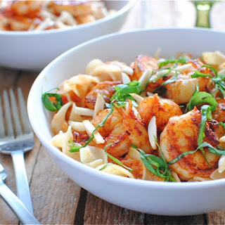 Paprika Shrimp Over Creamy Egg Noodles