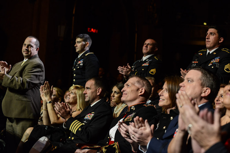 Photo: As the evening events began, guests were asked to stand and berecognized when their branch of service was announced.Here, the Army is beingcelebratedfor their service. (Stand Up For Heroes | November 8, 2012)