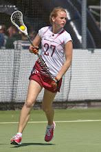 Photo: Dames, Letland 5-15 ZwedenIeva Opolska tijdens het EC Lacrosse 2012 in het Amsterdamse Bos in Amsterdam op 26-06-2012.
