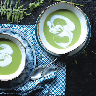 Green Garlic and Pea Soup with Whipped Cream