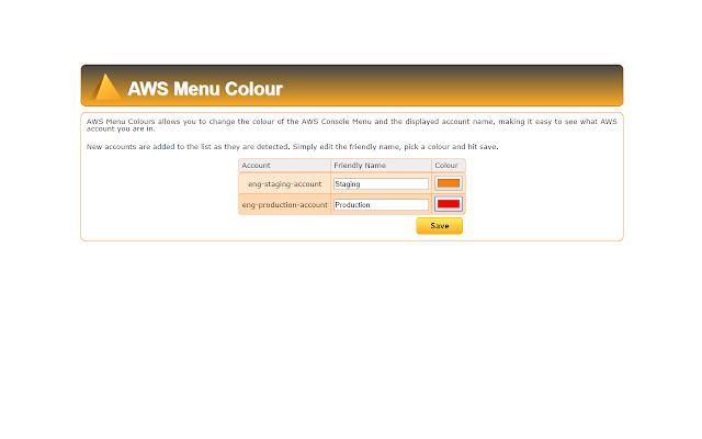 AWS Menu Colours