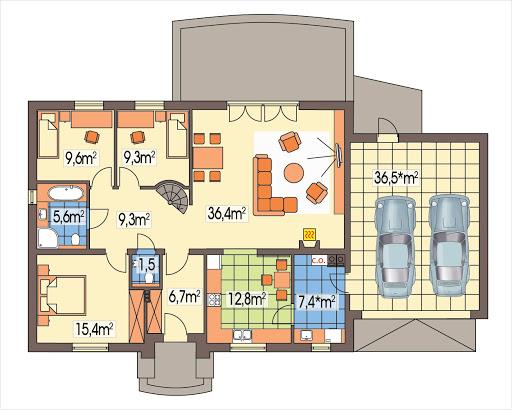 Azalia II wersja D z podwójnym garażem - Rzut parteru