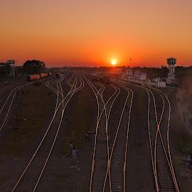A Far View of BadarpurRaiway Station by Manabendra Dey - Transportation Railway Tracks ( badarpur, station, railways )