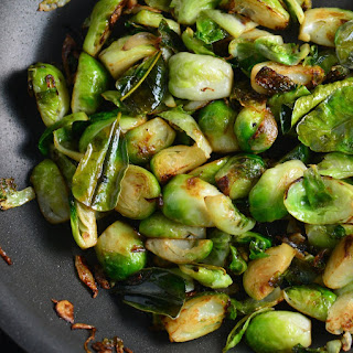 Pan Fried Brussel Sprouts with Kaffir Lime and Fried Shallots