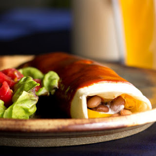 Fajita Style Bean Burritos with Red Chile