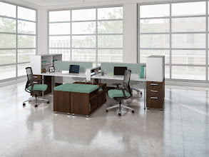 Photo: e5 Extentions EOA fabric on Gist Task Plus Chair -White-Walnut laminate
