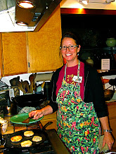 Photo: Kristie frying stuffed chive cakes