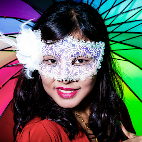 Masked Lady by Ray Shiu - People Portraits of Women ( girl, karen, window, female, umbrella, mask, photoshoot, people, spokes,  )