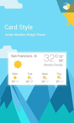 かわいいカード天気予報 天気ウィジェット 時計
