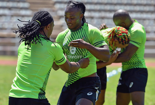 Rosko Specman and Seabelo Senatla during the Springbok Sevens training session. File photo.