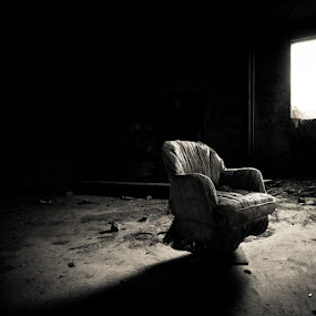 I Sit Alone by Paul Aparicio - Buildings & Architecture Other Interior ( urban, chair, window, shadow, abandon )