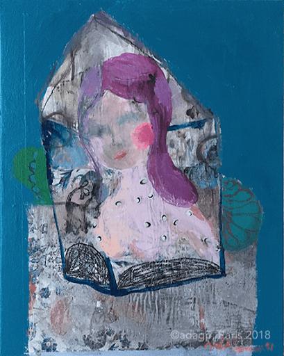 infiniment-dans-la-lune-sophie-lormeau-artiste-contemporain-sinf-gulier-figuratif-portrait-femme-moon-peinture-acrylique-collage-papier-magazine-marouflage-toile-bleu-blue-face-visage-portrait-imaginaire-woman-childhouse-renfance-enfermement-condition