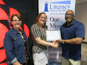 Photo: 2016 Nova Learning Inc. Nova Scotia Learner Award Winner E. Dale Reddick accepts the award from LNS Executive Director Jayne Hunter and Program Manager Marie David (left).  Dale recently graduated from the Adult Learning Program at NSCC Pictou Campus.