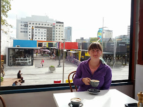 Photo: Breakfast at the re:Start container city in Christchurch.  We spent a few days here, in a hostel that had just reopened a month before, taking in the aftermath of the devastating earthquakes three years ago.